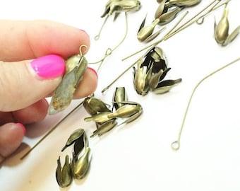 Bronze Tone Flower Bead Caps with Eye Hooks