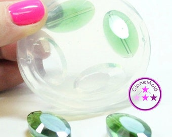 Oval Crystal Gem Mold Silicone Oval Facetted Silicone Rubber Mold