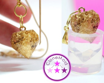 Beveled Heart Mold Pendant Earring  Crystal Pendulum Silicone Rubber Mold