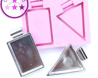 Rectangle Triangle Bezel Mold  Pendant Silicone Rubber