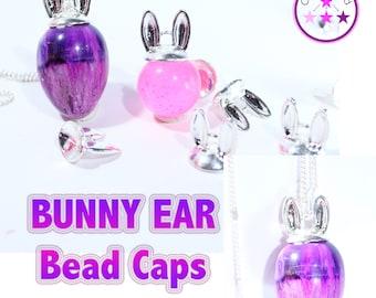 Bunny Ear Bead Caps; silver colour