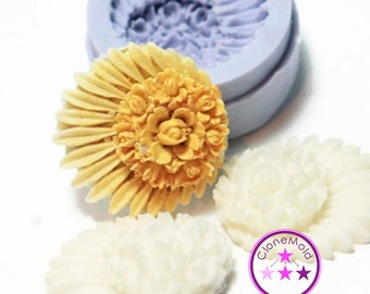 Round Flower Cabochon Silicone Rubber Mold