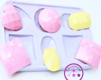 6 Piece Beveled Shapes Pendant/Cabochon/Earring  Silicone Rubber Mold