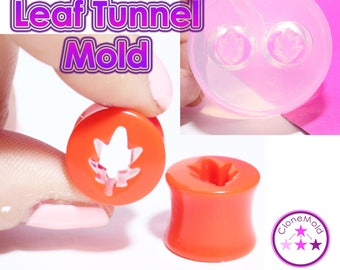 Oak Leaf Ear Tunnel Gauge Mold; Ear Plug Piercing Silicone Rubber Mold; The mold contains 22,20,18,16,14,12,10,8 or  6 mm plugs