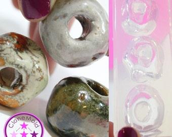 Hair Macrame Bead Mold X Large Retro Clay Irregular Natural Silicone Rubber Mold; 3 Piece