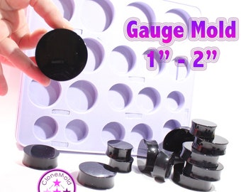 """Plug Gauge Double Flare Mold  Ear Piercing Silicone Rubber Mold; 1 inch - 2"""" gauges"""