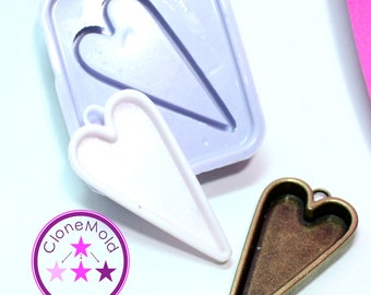 Heart Bezel Pendant Mold Silicone Rubber