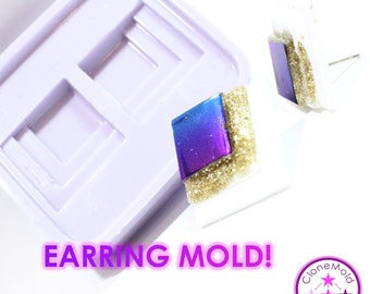 Tiered Square Cabochon or Earring Mold Silicone Rubber