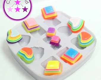 Stud Mold Heart and Square Earring Silicone Rubber Mold