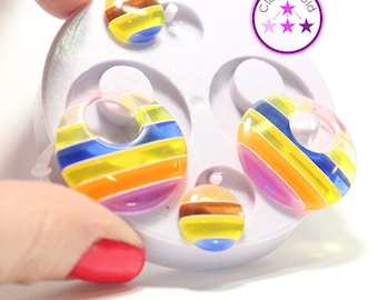 Drop Down Earring Mold Round Circle Silicone Rubber Mold