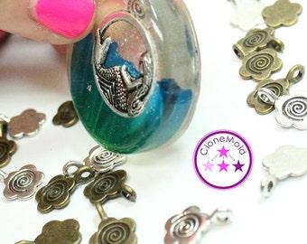 "Antique Silver/Bronze Flower Jewelry Bails ""Glueable"""