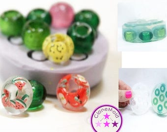 Smooth Bead Mold for Stringable Charm Bracelet Silicone Rubber; 5 Pieces; 5 mm Opening