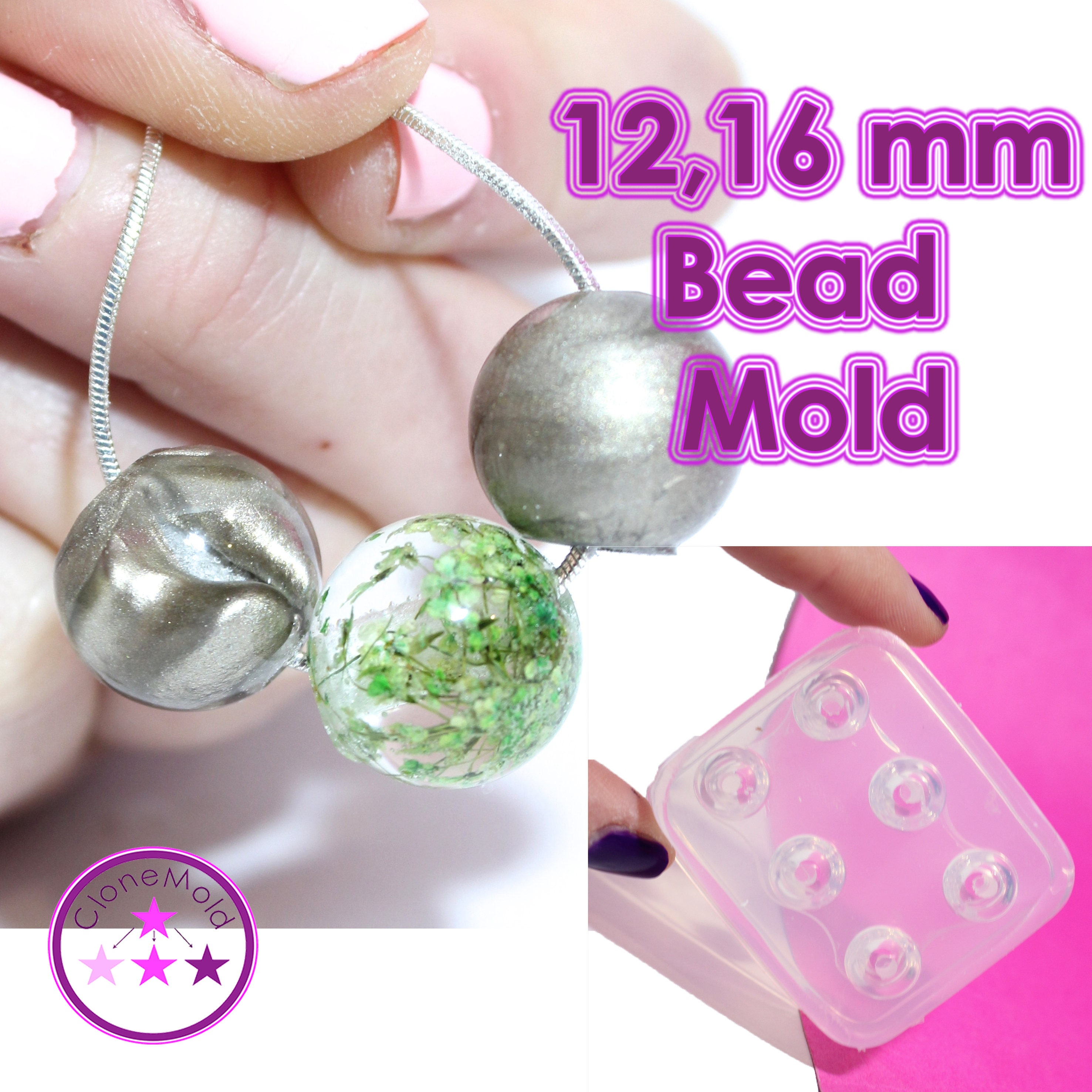 Round Bead Mold Sphere Ball Ball Ball Globe Silicone Rubber; 6 Pieces; 12 or 16 mm 5894ae