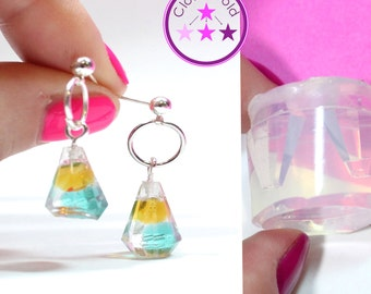 Crystal Pyramid Mold Small Facetted Prism Earring Silicone Rubber Mold