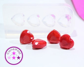 Heart Mold Small Facetted Silicone Rubber