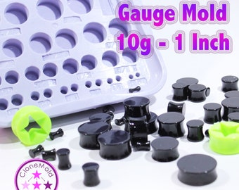 Plug Gauge Mold Multiple Ear Plug Piercing Silicone Rubber Mold, 10g - 1 INCH