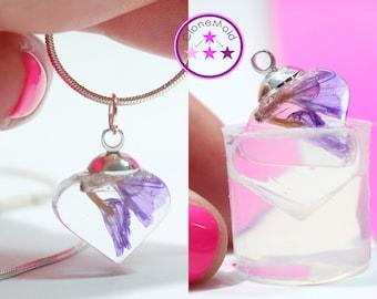 Heart Pendant Mold Flat Pendulum Silicone Rubber Pendant or Earring  Mold