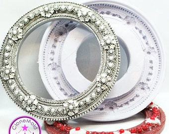 Frame Mold Round Large Circle Victorian Style Frame Mold; Silicone Rubber