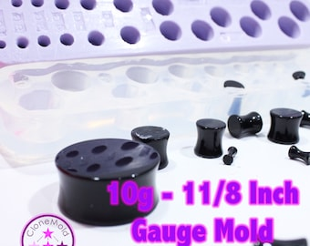 Plug Gauge Mold Multiple Tunnel Flat End  Ear Plug Piercing Silicone Rubber Mold; 10g - 1 and 1/18 inch
