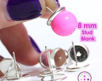 Metal 8 mm Earring Stud Blanks