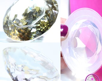 Large Jewel Crystal Prism Mold; Crystal Facetted Silicone Rubber Mold