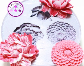 Multiple Flower Cabochon Mold Silicone Rubber