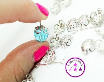 Silver Plated Flower Bead Caps with Eye Hooks for Pendants