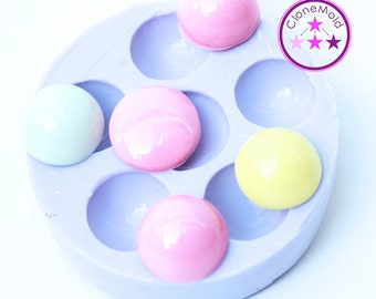 Small Circle Cabochon Silicone Rubber Mold; 15 mm