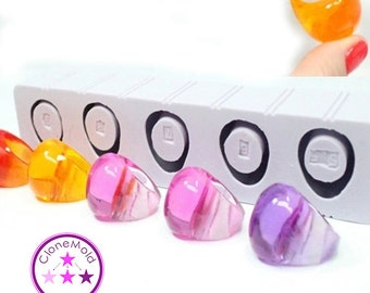 Multiple Ring Mold 5 Oval Bubble Silicone Ring Mold; Sizes 5.5-9