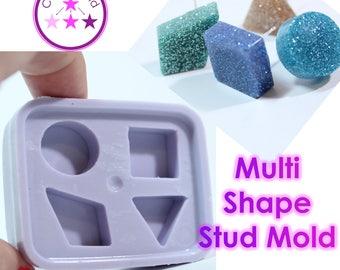 Stud Mold Square, Circle, Diamond Triangle Earring Silicone Rubber Mold