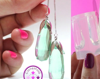 Long Crystal Prism Mold Facetted TearDrop Earring/Pendant Silicone Rubber Mold