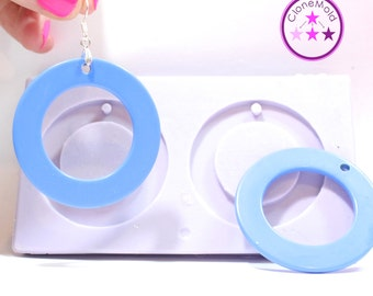 Circle Earring Mold 2 Piece Round Silicone Rubber Mold