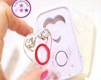 Ring Mold Heart 2 Piece Double Mold; One Size; Silicone Rubber; Size 5