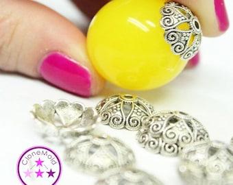 Medium Antique Silver Bead Caps with Eye Hooks for Pendants