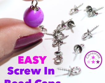 Screw in Bead Caps with Peg for Pendants; Silver Color; 5 mm x 10 mm; Eye Pin