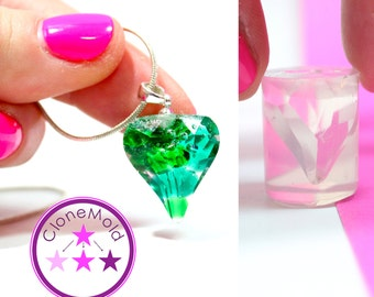 Heart Crystal Mold Pendant Pendulum Silicone Rubber Mold
