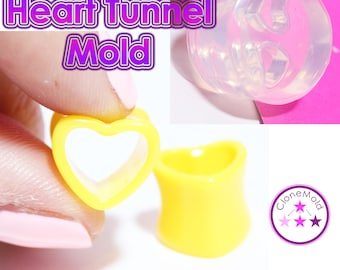 Heart Ear Tunnel Gauge Mold; Ear Plug Piercing Silicone Rubber Mold; The mold contains 22,16,12,10 or 8 mm plugs plugs