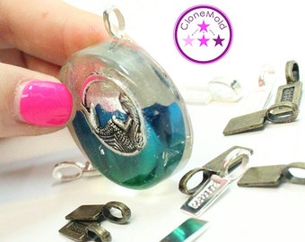 """Silver Plated/Bronze Tone Jewelry Bails """"Glueable"""""""