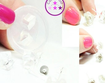 Nugget Crystal Stone Mold; Silicone Rubber Stud Earring Mold
