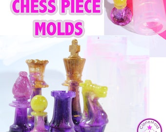 Chess Piece Mold Silicone Rubber; Queen, King, Rook, Bishop, Knight, Pawn