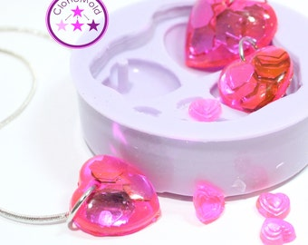 Heart Pendant Earring Mold With Hole Silicone Rubber