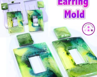 Rectangle Earring Mold 4 Piece Round Dangle Silicone Rubber Mold