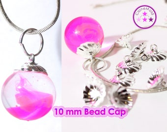 Swirl Bead Caps with Hook for Pendants; 10 mm Connector