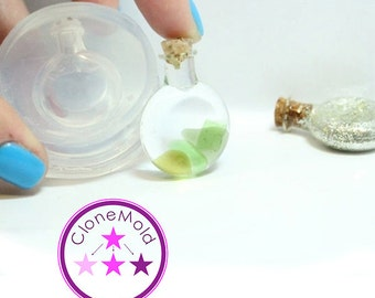 Bottle Mold Small Round Flat Resin Bottle Pendant Silicone Rubber