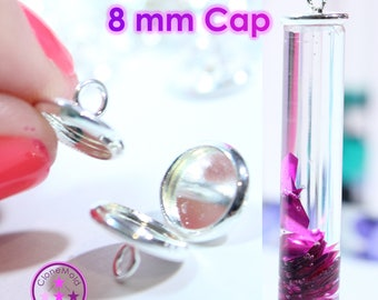 Small Flat Bead Cap with hook for Pendants; 8 mm