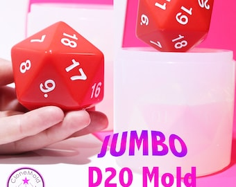 JUMBO D20 Dungeons and Dragons Gamer Dice / Die Split Mold Silicone Rubber; 65 mm