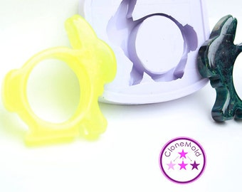 Napkin Ring Mold Bunny Rabbit; Silicone Rubber