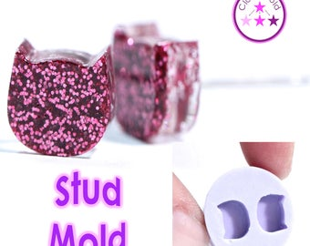 Stud Mold Cat Earring Silicone Rubber Mold; Feline Kitty Cat Mold