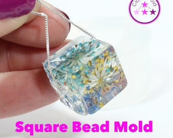 Bead Mold Square Cube Bead Silicone Rubber Mold; 15 mm