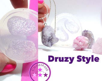 Druzy Mold Pendant Jewel Crystal Geod Rock Silicone Rubber Mold